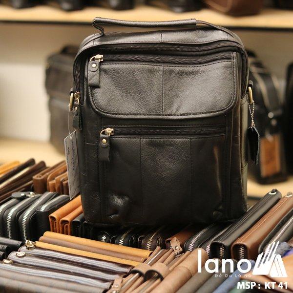 Túi xách nam dạng hộp có quai xách bằng da thật KT41 đen