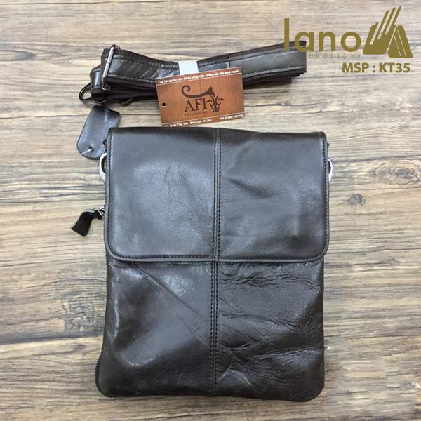 Túi đeo chéo nam da thật siêu mỏng giá rẻ KT35 đen