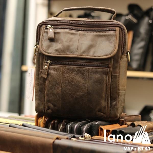 Túi xách nam dạng hộp có quai xách bằng da thật KT41 nâu