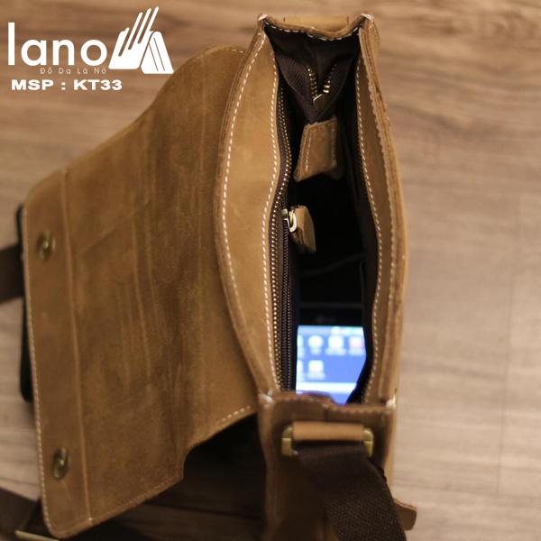 Túi đeo chéo nam da bò thời trang sang trọng KT33 bên trong