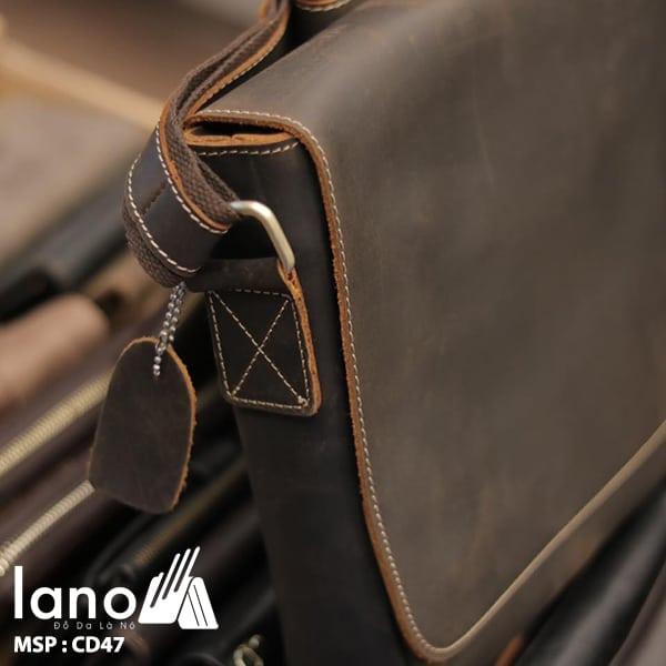 Túi Da Nam Đeo Chéo Đựng Macbook 13 inch cạnh bên