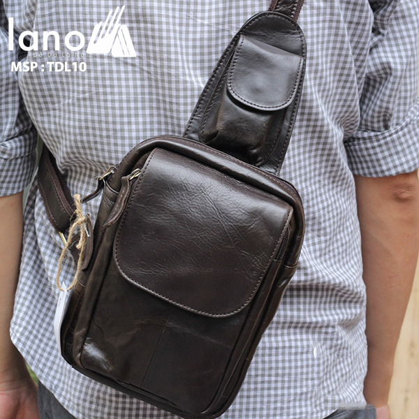 Túi đeo lưng nam thời trang da thật đựng iPad mini TDL-10 đeo chéo