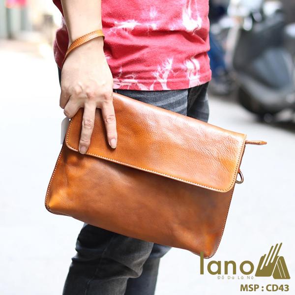 Cặp da nam clutch bag đeo chéo cầm tay da thật sang trọng CD43 vàng xách tay
