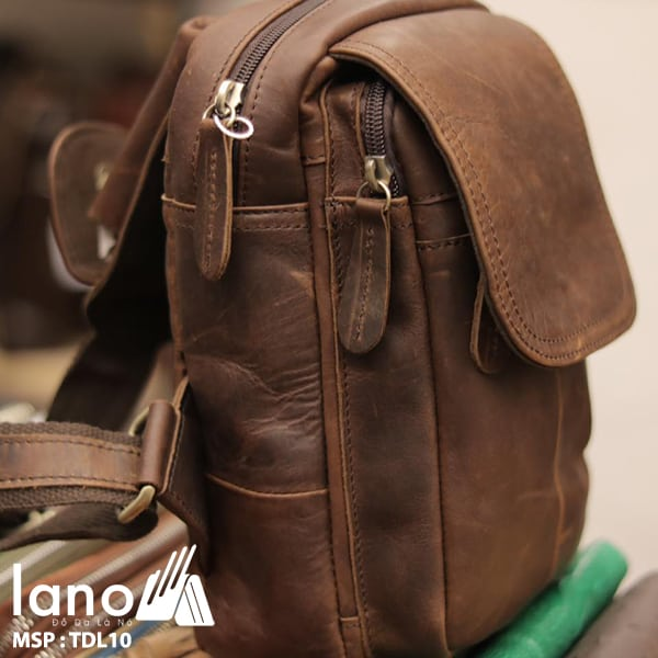 Túi đeo lưng nam thời trang da thật đựng iPad mini TDL10 cạnh bên