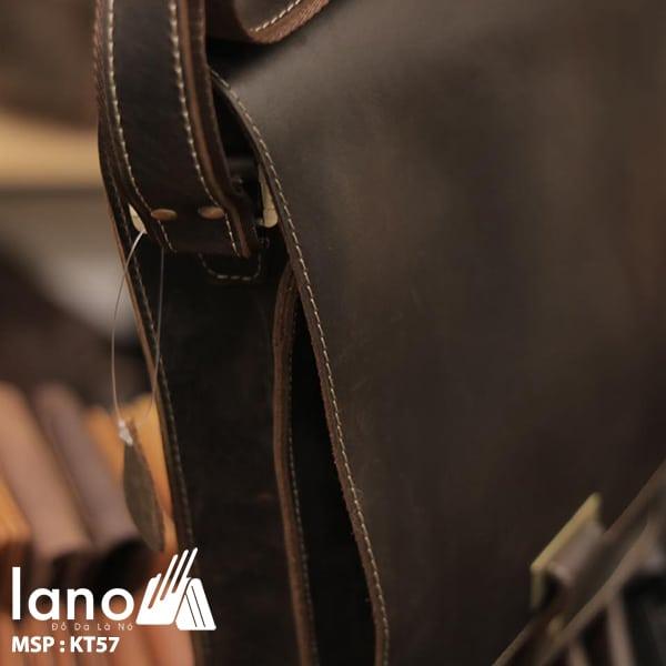 Túi đeo chéo nam công sở da bò sáp đựng tài liệu A4 KT57 cạnh bên