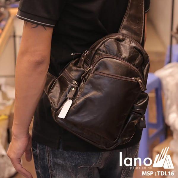 Túi đeo chéo ngực nam da thật giá rẻ TDL16 đen bóng - đeo sau lưng