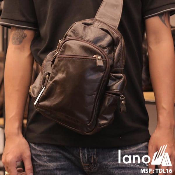 Túi đeo chéo ngực nam da thật giá rẻ TDL16 đen bóng - đeo trước ngực