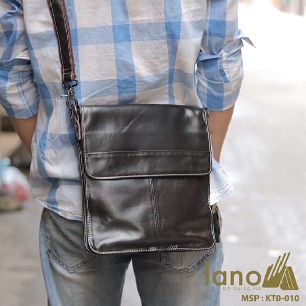 Tui Da Nam Lano Đựng iPad Giá Rẻ Siêu Mỏng 010 đen đeo chéo sau lưng