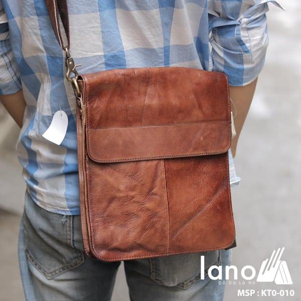 Tui Da Nam Lano Đựng iPad Giá Rẻ Siêu Mỏng 010 nâu đeo chéo sau lưng