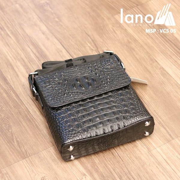 Túi Đeo Chéo Nam Da Bò Vân Cá Sấu VCS05 đen