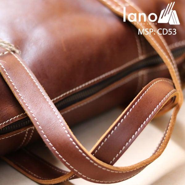 Cặp Da Bò Công Sở 2018 CD53 nâu tay xách và khóa túi