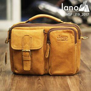 Túi xách nam da thật hàng hiệu đựng iPad Jeep J19 mẫu mới 2017 vàng