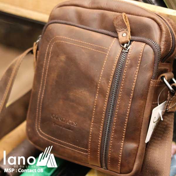 Túi da nam thời trang nhỏ gọn Contact 08 nghiêng