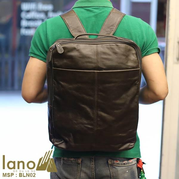 Balo da thật Lano thời trang nam tính đựng laptop BLN02 - đeo lưng