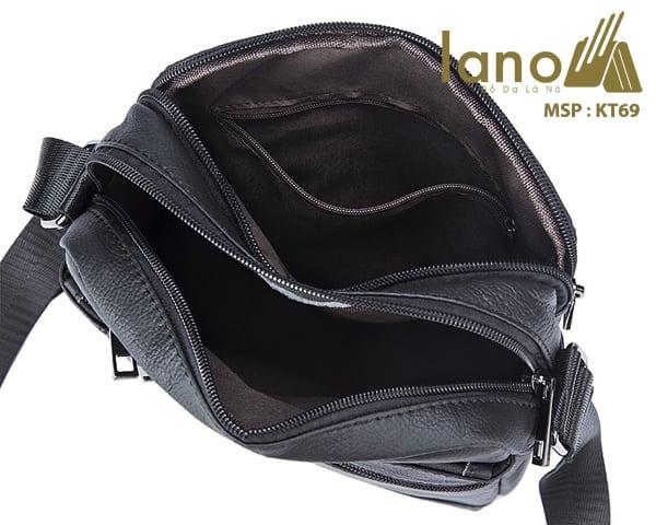 Túi da nam đeo chéo giá rẻ KT69 bên trong