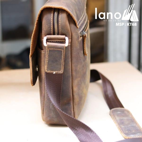 Túi đeo chéo nam da thật đựng iPad dạng hộp KT68 cạnh bên túi