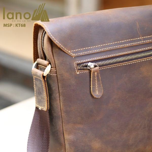 Túi đeo chéo nam da thật đựng iPad dạng hộp KT68 mặt sau