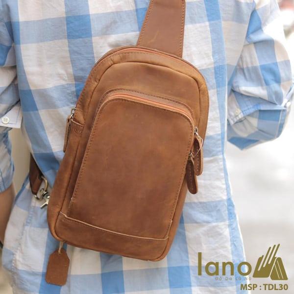 Túi đeo chéo lưng, ngực cho nam da bò sáp Lano TDL30 vàng - đeo chéo sau lưng