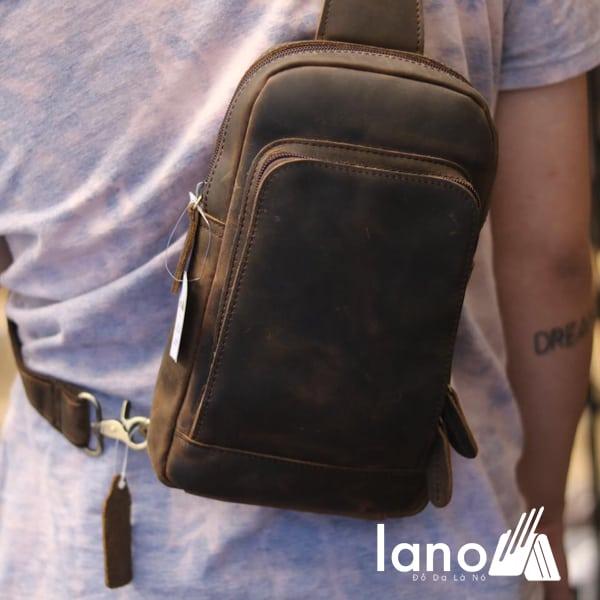 Túi đeo chéo lưng, ngực cho nam da bò sáp Lano TDL30 đeo chéo sau lưng