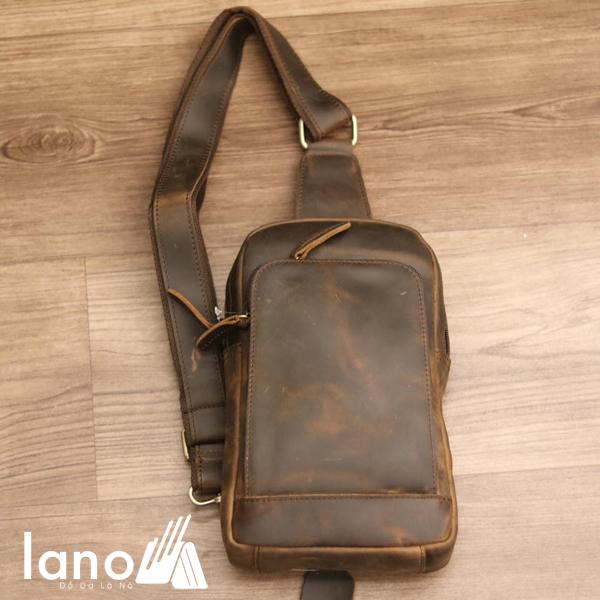 Túi đeo chéo lưng, ngực cho nam da bò sáp Lano TDL30