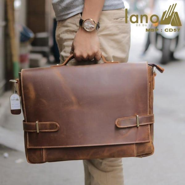 Cặp xách nam da bò sáp thời trang công sở Lano CD57 xách tay