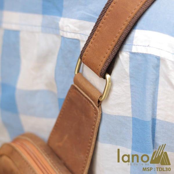 Túi đeo chéo lưng, ngực cho nam da bò sáp Lano TDL30 vàng
