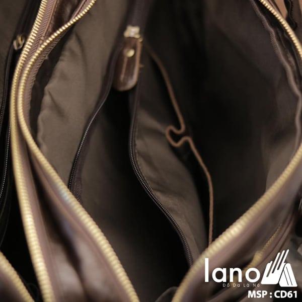 Cặp da nam công sở Lano thời trang cao cấp đựng laptop 15inch CD61 bên trong