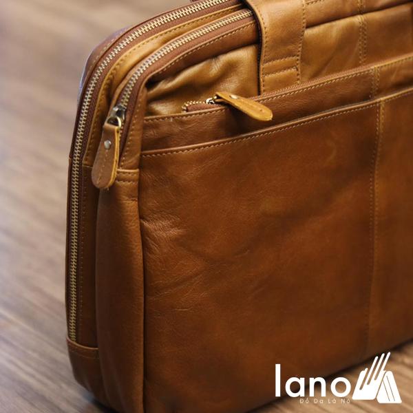 Cặp da nam công sở Lano thời trang cao cấp đựng laptop 15inch CD61 góc nghiêng