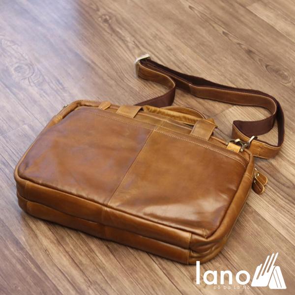 Cặp da nam công sở Lano thời trang cao cấp đựng laptop 15inch CD61 trực diện