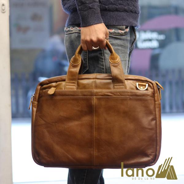 Cặp da nam công sở Lano thời trang cao cấp đựng laptop 15inch CD61 xách tay