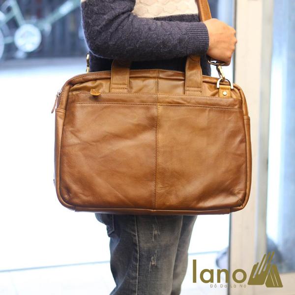 Cặp da nam công sở Lano thời trang cao cấp đựng laptop 15inch CD61 đeo chéo