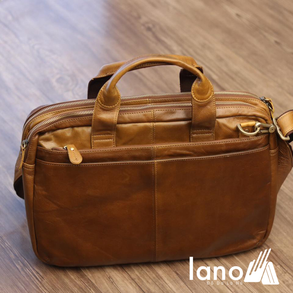 Cặp da nam công sở Lano thời trang cao cấp đựng laptop 15inch CD61 góc trên