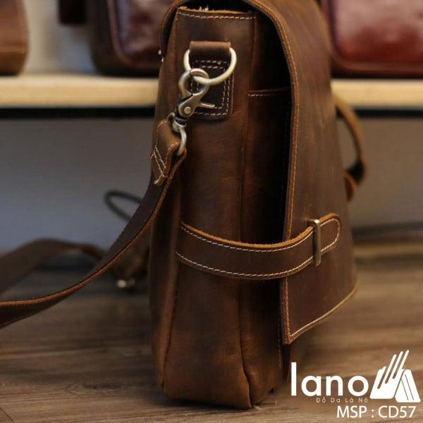 Cặp xách nam da bò sáp thời trang công sở Lano CD57 mặt cạnh
