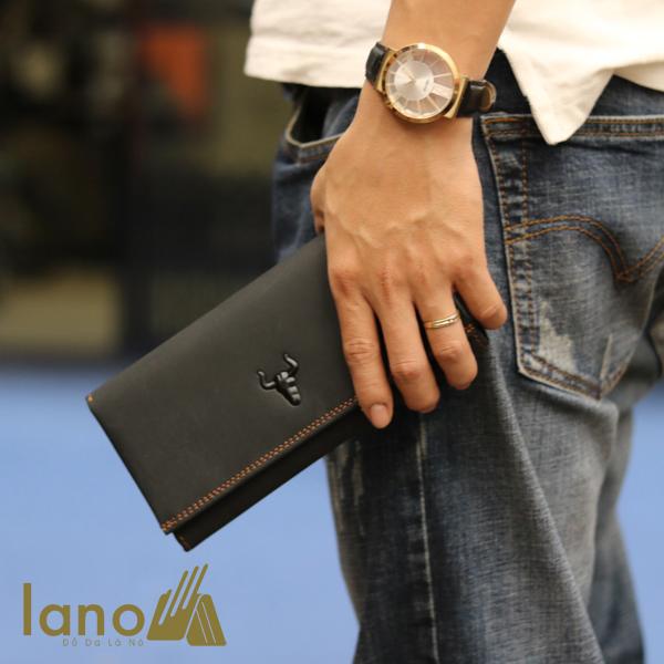 Ví cầm tay nam 3 gấp da bò thật thời trang tiện lợi VCTN020 đen - trên tay