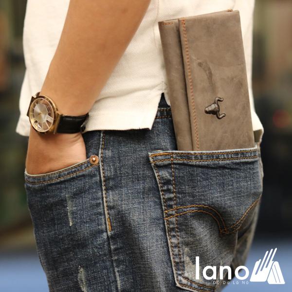 Ví cầm tay nam 3 gấp da bò thật thời trang tiện lợi VCTN020 ghi - đút túi sau