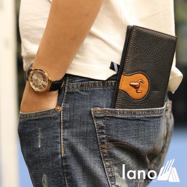 Ví cầm tay nam loại dài 2 gấp logo đầu trâu mới VCTN019 đút túi sau
