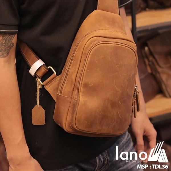 Túi da đeo trước ngực cho nam thời trang Lano cách điệu TDL36 vàng - đeo trước ngực