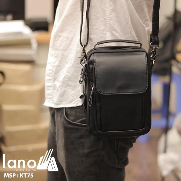 Túi da nam đeo chéo mini loại nhỏ KT75 đen - đeo vai