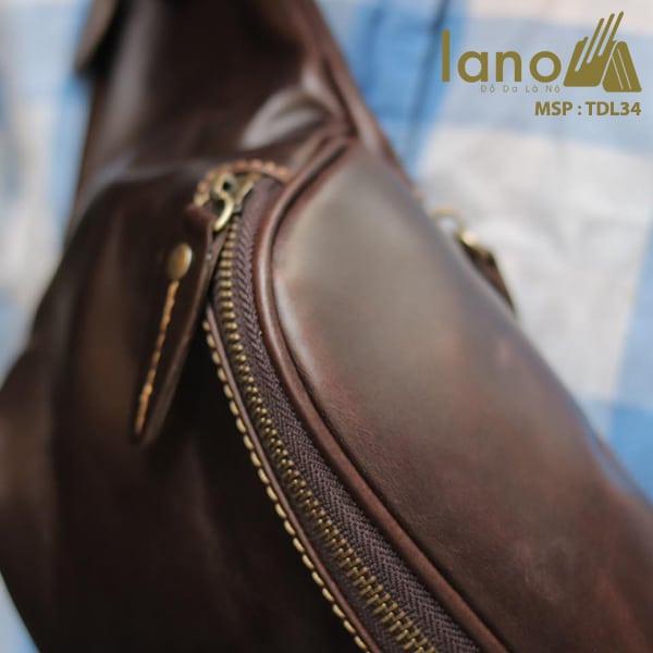 Túi đeo chéo bụng, lưng nam da thật thời trang Lano tiện lợi TDL34 đen
