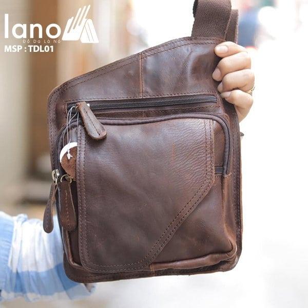 Túi đeo lưng cho nam Lano bằng da thật 001
