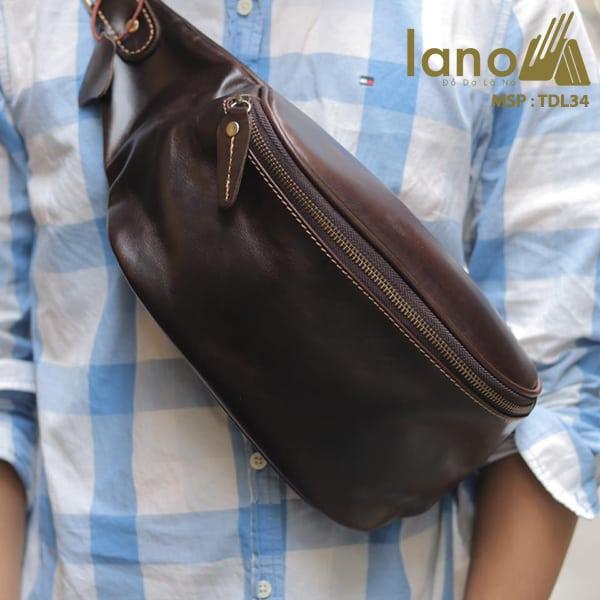 Túi đeo chéo bụng, lưng nam da thật thời trang Lano tiện lợi TDL34 đen - đeo trước ngực