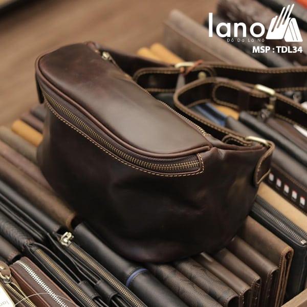 Túi đeo chéo bụng, lưng nam da thật thời trang Lano tiện lợi TDL34 đen nghiêng