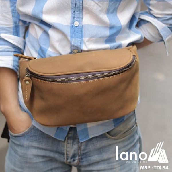 Túi đeo chéo bụng, lưng nam da thật thời trang Lano tiện lợi TDL34 nâu vàng đeo bụng