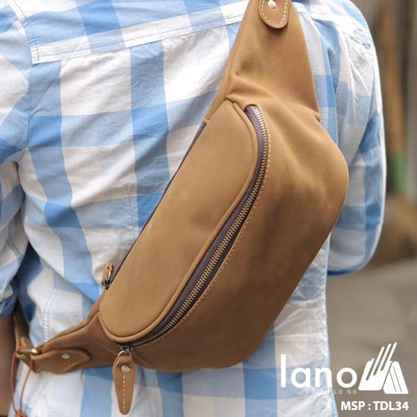 Túi đeo chéo bụng, lưng nam da thật thời trang Lano tiện lợi TDL34 nâu vàng đeo chéo sau lưng