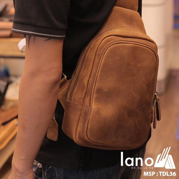 Túi da đeo trước ngực cho nam thời trang Lano cách điệu TDL36 vàng - đeo lưng