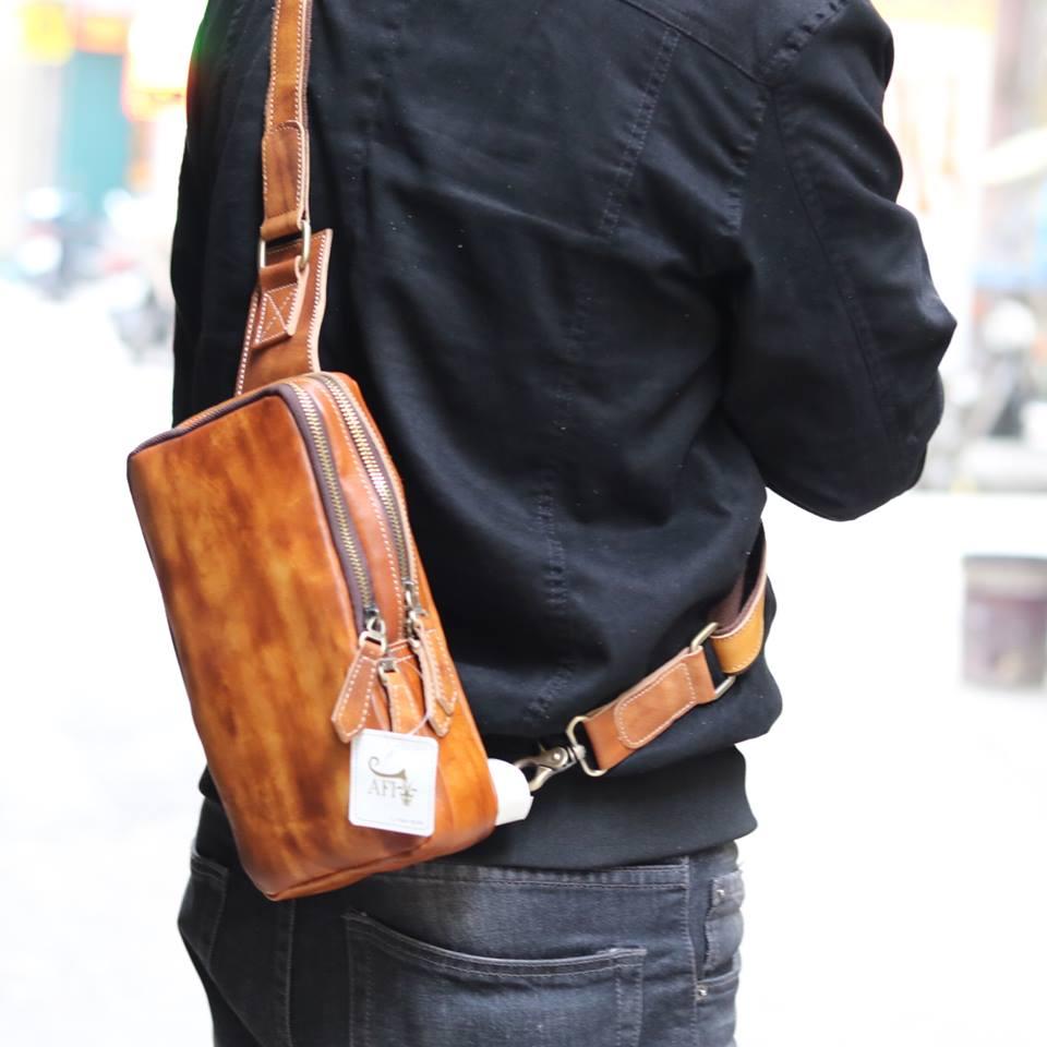 Túi da đeo lưng cho nam thời trang sang trọng TDL22 đeo chéo