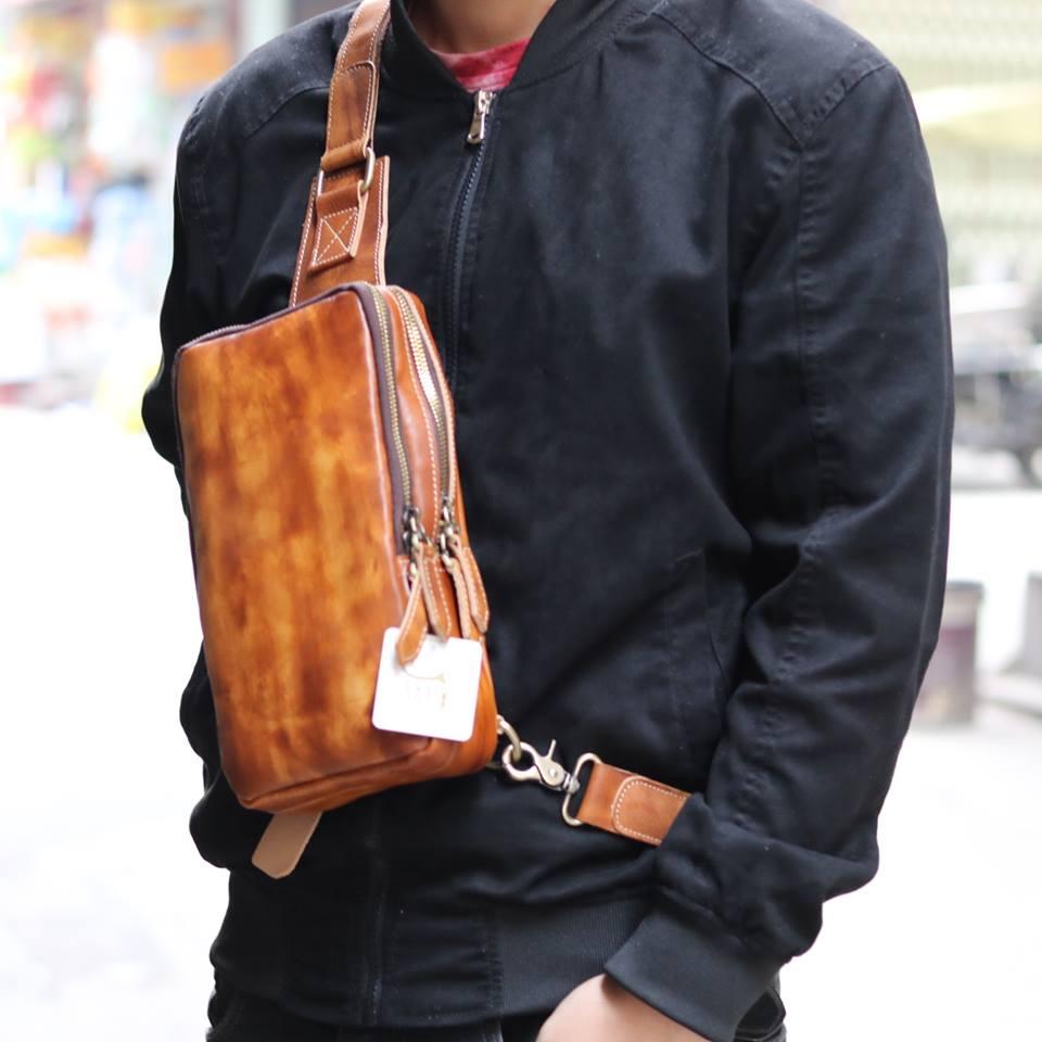 Túi da đeo lưng cho nam thời trang sang trọng TDL22 đeo trước ngực
