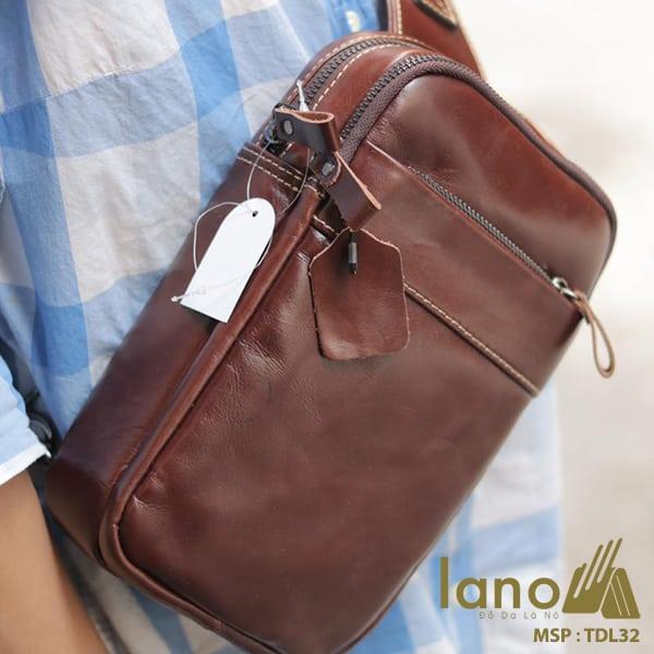 Túi da Lano đeo chéo trước ngực Sling Bag thời trang cao cấp TDL32 đeo trước ngực