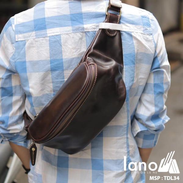 Túi đeo chéo bụng, lưng nam da thật thời trang Lano tiện lợi TDL34 đen chéo sau lưng
