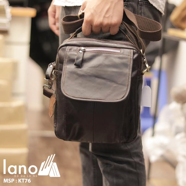Túi đeo chéo nam mini da thật Lano có quai xách KT76 xách tay